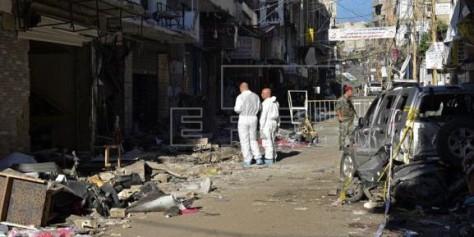 escenario del doble atentado perpetrado ayer un feudo del grupo chií Hizbulá en el sur de Beirut que causó al menos 43 muertos y 239 heridos, en el Líbano, hoy, 13 de noviembre de 2015